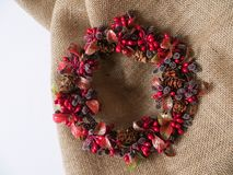 Fondo della corona di Natale Materiali della natura Immagine Stock Libera da Diritti