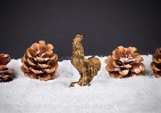 Fondo della decorazione del nuovo anno o di Natale: coni, fiocco di neve, r Fotografia Stock Libera da Diritti