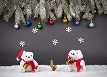 Fondo della decorazione del nuovo anno o di Natale: rami dell'pelliccia-albero, Fotografie Stock