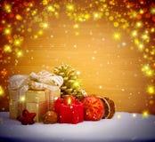 Fondo della decorazione di Natale con la candela di arrivo Fotografia Stock