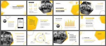 Fondo della disposizione dello scorrevole e di presentazione Giallo ed Oran di progettazione illustrazione di stock