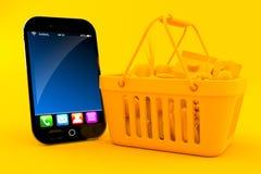 Fondo della drogheria con lo Smart Phone Immagine Stock