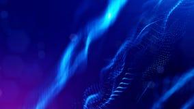 Fondo della fantascienza delle particelle d'ardore con profondità di campo e bokeh Superficie della linea e dell'estratto della f Immagini Stock Libere da Diritti