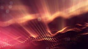 Fondo della fantascienza delle particelle d'ardore con profondità di campo e bokeh Superficie della linea e dell'estratto della f Fotografie Stock Libere da Diritti