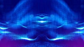 Fondo della fantascienza delle particelle d'ardore con profondità di campo e bokeh Superficie della linea e dell'estratto della f Fotografie Stock