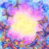 Fondo della farfalla dell'acquerello nei colori dell'arcobaleno illustrazione vettoriale