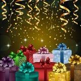 Fondo della festa di compleanno con i contenitori ed i coriandoli di regalo Immagine Stock Libera da Diritti