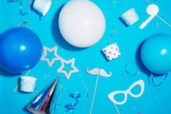 Fondo della festa di compleanno Concetto di celebrazione Disposizione piana Fotografia Stock Libera da Diritti