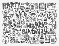 Fondo della festa di compleanno di scarabocchio Fotografia Stock Libera da Diritti