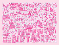 Fondo della festa di compleanno di scarabocchio Immagini Stock Libere da Diritti