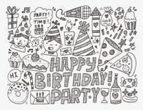 Fondo della festa di compleanno di scarabocchio Fotografie Stock