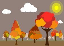 Fondo della foresta di autunno illustrazione di stock