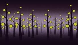 Fondo della foresta di notte Immagine Stock