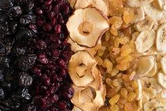 Fondo della frutta secca Prugne, mirtilli rossi, mele, uva passa, bannanas Vista superiore immagini stock libere da diritti