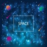 Fondo della galassia dello spazio con i pianeti, la nebulosa, lo stardust e le stelle brillanti luminose royalty illustrazione gratis
