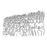 Fondo della gente che si siede sullo stadio per incoraggiare il loro te di calcio illustrazione vettoriale