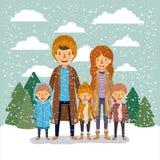 Fondo della gente di inverno con la famiglia nel paesaggio variopinto con i pini e la caduta della neve e la madre ed i figli del illustrazione vettoriale