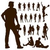 Fondo della gente di moto della siluetta Fotografia Stock Libera da Diritti