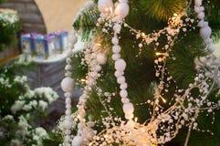 Fondo della ghirlanda della luce di Natale Fotografia Stock