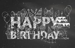 Fondo della lavagna di buon compleanno del gesso Fotografie Stock