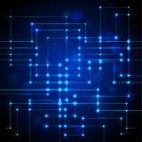 Fondo della linea blu di tecnologia e dell'estratto del circuito elettrico, Immagine Stock