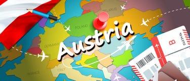 Fondo della mappa di concetto di viaggio dell'Austria con gli aerei, biglietti Viaggio dell'Austria di visita e concetto della de illustrazione di stock