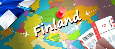 Fondo della mappa di concetto di viaggio della Finlandia con gli aerei, biglietti Viaggio della Finlandia di visita e concetto de illustrazione di stock