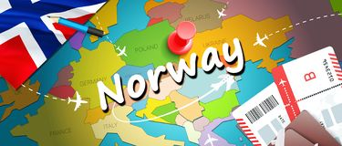 Fondo della mappa di concetto di viaggio della Norvegia con gli aerei, biglietti Viaggio della Norvegia di visita e concetto dell illustrazione vettoriale