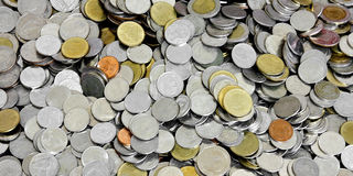 Fondo della moneta di baht tailandese Fotografia Stock