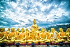 Fondo della montagna di Buddha in Tailandia Fotografia Stock Libera da Diritti