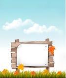 Fondo della natura con le foglie di autunno ed il segno di legno illustrazione vettoriale