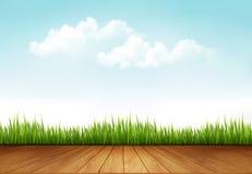 Fondo della natura con una piattaforma di legno illustrazione di stock