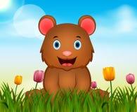 Fondo della natura di estate con l'illustrazione sveglia dell'orso illustrazione di stock