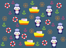 Fondo della nave di giallo del pinguino royalty illustrazione gratis