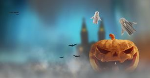 Fondo della nebbia di Halloween della zucca di Halloween 3d-illustration con illustrazione di stock