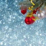 Fondo della neve del jn delle decorazioni di Natale Immagini Stock