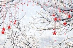 Fondo della neve di Buon Natale con le stelle ed i fiocchi di neve d'attaccatura Immagini Stock