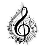 Fondo della nota di musica con i simboli illustrazione vettoriale
