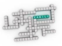 fondo della nuvola di parola di concetto delle edizioni di famiglia di immagine 3d Immagine Stock