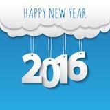 Fondo della nuvola e del cielo del buon anno 2016 Vettore/illustratio Fotografie Stock