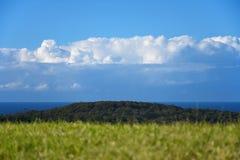 Fondo della nuvola e del cielo dell'erba della montagna del mare Fotografie Stock Libere da Diritti