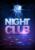 Fondo della palla della discoteca Night-club del manifesto della discoteca neon Fotografia Stock Libera da Diritti