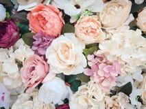 Fondo della parete dei fiori con lo stupore delle rose rosse e bianche, decorazione di nozze, fatta a mano Floreale, pittura immagine stock libera da diritti