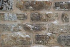 Fondo della parete di pietra con neve Immagini Stock