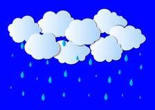 Fondo della pioggia di vettore, Gray Clouds leggero e gocce blu luminose illustrazione di stock