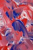 Fondo della pittura acrilica nei toni rossi, bianchi e blu fotografia stock libera da diritti