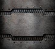 Fondo della placca di metallo con l'illustrazione dei ribattini 3d illustrazione vettoriale