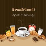 Fondo della prima colazione con caffè Fotografie Stock Libere da Diritti
