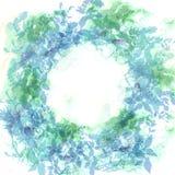 Fondo della primavera, corona con le foglie verdi della menta, acquerello Insegna rotonda per testo Vettore illustrazione di stock