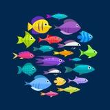 Fondo della raccolta del pesce del fumetto Fotografia Stock Libera da Diritti
